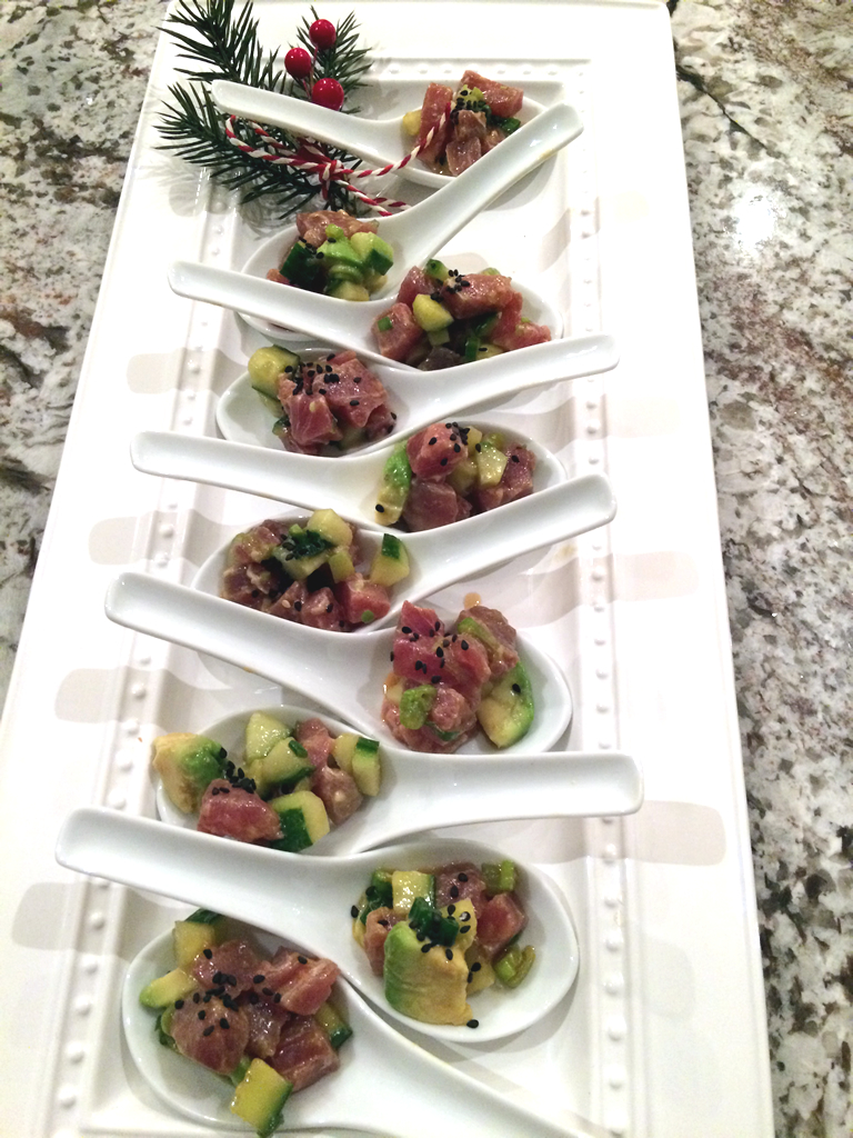 Cat - Asian Tuna and Avocado Tartare on Chinese Spoons